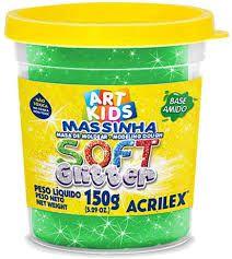 Massa Para Modelar Soft Com Glitter Verde 150g 206 Acrilex