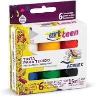 Tinta para Tecido 15ml c/6 cores - Acrilex