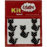 Botões Divertidos Kit Super Criativo Gato Preto PT c/ 5 Unidades