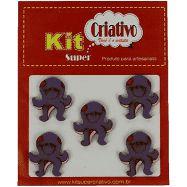 Botões Divertidos Kit Super Criativo Polvo PT c/ 5 Unidades