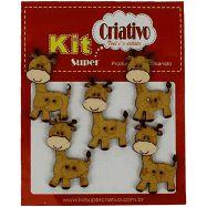 Botões Divertidos Kit Super Criativo Girafa Regular PT c/ 5 Unidades