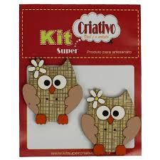 Botões Divertidos Kit Super Criativo Corujinha c/ Flor PT c/ 02 Unidades