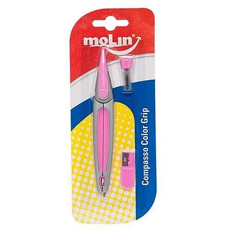 Compasso Escolar Plástico Molin Color Grip Rosa