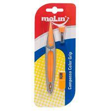 Compasso Escolar Plástico Molin Color Grip Laranja  preciso e resistente, com design ultra moderno. Acompanha apontador e grafites para reposição.