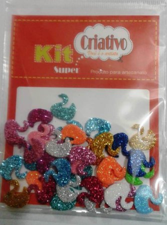 Aplique Super Brilho Cisne Kit Criativo Regular PT c/ 36 Unidades