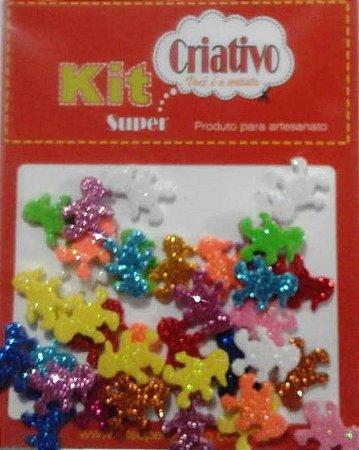 Aplique Super Brilho Kit Super Criativo Menino PT c/ 24 Unidades
