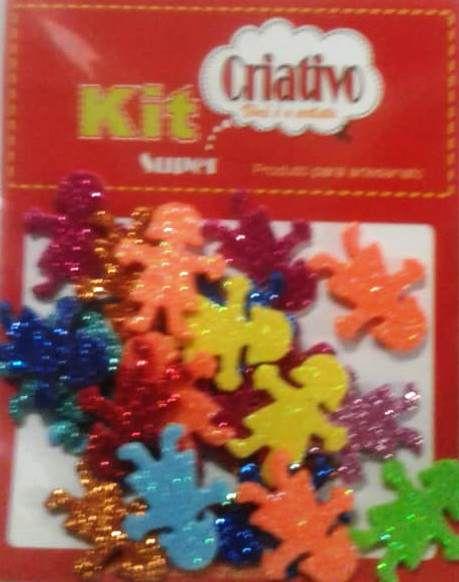 Aplique Super Brilho Menina Kit Super Criativo Jumbo PT c/ 24 Unidades