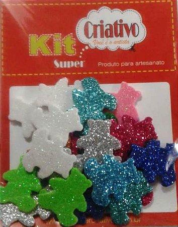 Aplique Super Brilho Urso Kit Super Criativo Jumbo PT c/ 24 Unidades