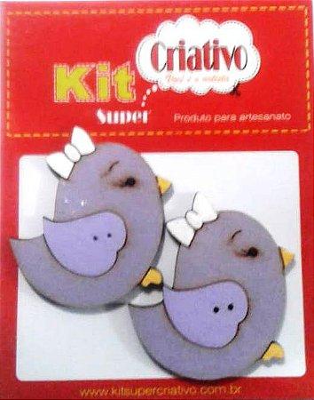Botões Divertidos Kit Super Criativo Passarinha Jumbo Lilás PT c/ 02 Unidades