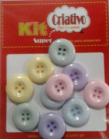 Botões Coloridos Tons Pastéis 20mm Kit Super Criativo PT c/ 10 Unidades
