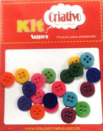 Botões Coloridos 11mm Kit Super Criativo PT c/ 20 Unidades