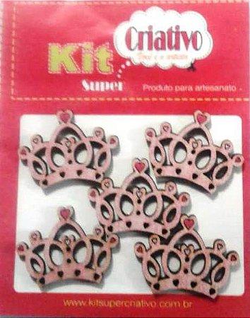 Botões Divertidos Kit Super Criativo Coroa Princesa Rosa Regular PT c/ 05 Unidades
