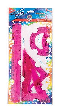 Conjunto para Desenho Escolar Floppy Rosa Tris 686615  corpo flexível.