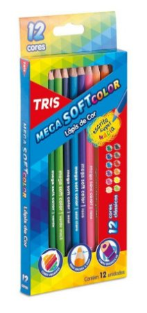 Lápis de Cor Triangular Mega Soft Color com 12 cores - Tris