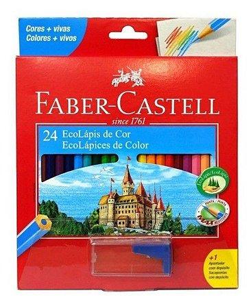 ECOLAPIS DE COR FABER CASTELL C\ 24 Com Apontador Sextavado cores disponível conforme o estoque