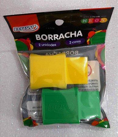 BORRACHA PEQUENA C/ CAPA PLÁSTICA BLISTER C/ 02 UNIDADES VERDE/AMARELA