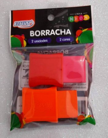 BORRACHA PEQUENA C/ CAPA PLÁSTICA BLISTER C/ 02 UNIDADES ROSA/CENOURA