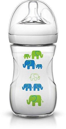 Mamadeira Pétala Transparente Elefante Azul/Verde 260ml - Philips Avent