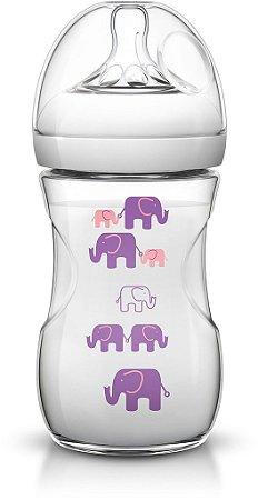 Mamadeira Pétala Transparente Elefante Rosa/Lilás 260ml - Philips Avent