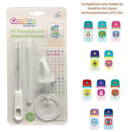 KIt Reposição com Escova de limpeza - Compatível com os Copos Lets Go - Comtac Kids