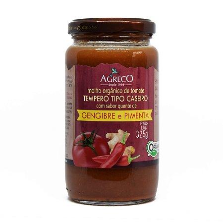 Molho de tomate orgânico com pimenta e gengibre Agreco - 325g