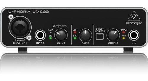 INTERFACE ÁUDIO BEHRINGER USB UMC HD MIDAS UMC22 2 CANAIS