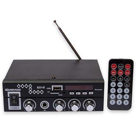 AMPLIFICADOR RECEIVER SOUNDVOICE RC01BT 60W bluetooth