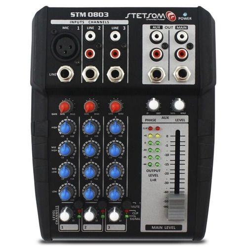 MESA DE SOM AUTOMOTIVO STETSOM STM0803 3 CANAIS 12V MIC RCA