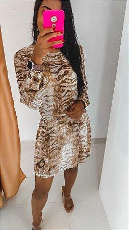 Vestido Manga Longa Estampado