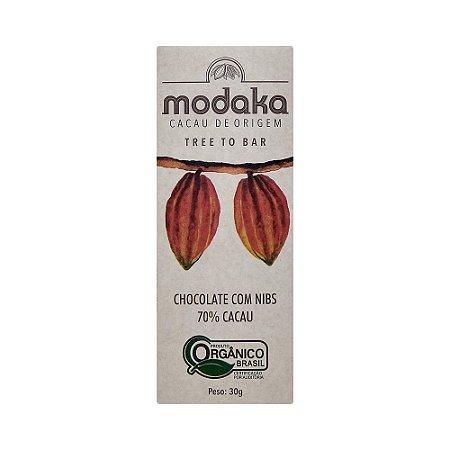 Modaka 70% com Nibs - Barra 30g