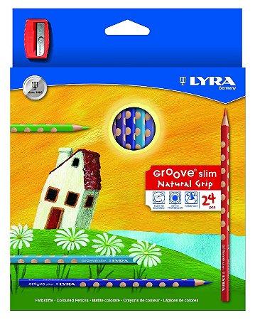 Lápis De Cor Lyra Groove Slim Com 24 Cores + Apontador