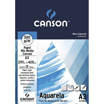 Bloco Canson Aquarela A4 300g/m² -  12 Folhas