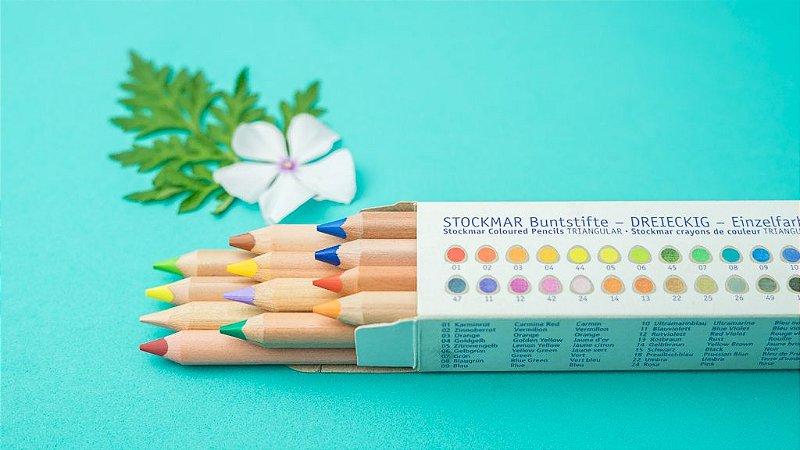 Lápis grosso triangular Stockmar - 12 cores básicas