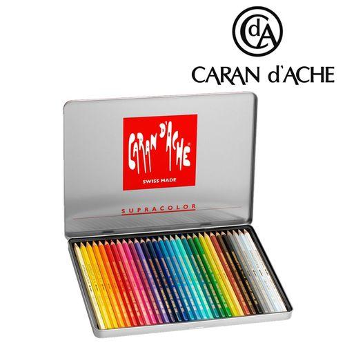 Lápis fino Carandache Supracolor - lata com 30 cores