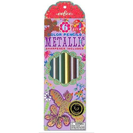 Lápis de cor grosso triangular metalizado - 6 cores