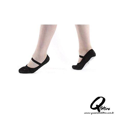 Sapatilha Glitter de Ballet Preta - QueenslandStore