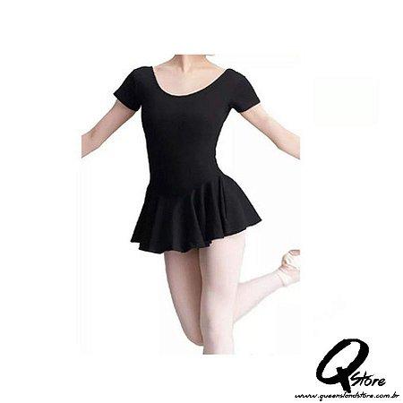 Collant Meia Manga c/ Saia Ballet em Helanca - Feeldance