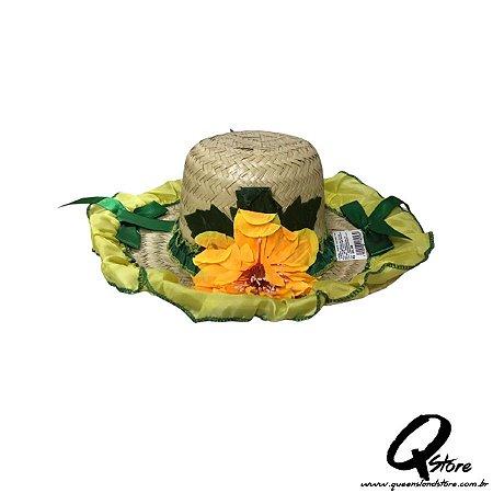 Chapéu de Palha com Tecido Colorido Festa Junina Feminino- Laço Verde