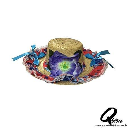 Chapéu de Palha com Tecido Colorido Festa Junina Feminino- Laço Azul