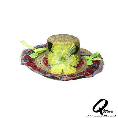 Chapéu de Palha com Tecido Colorido Festa Junina Feminino- Laço Verde Neon