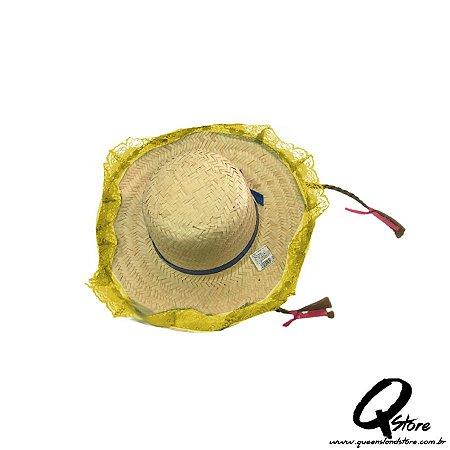Chapéu de Palha Renda e c/ Trança Festa Junina Feminino- Amarelo