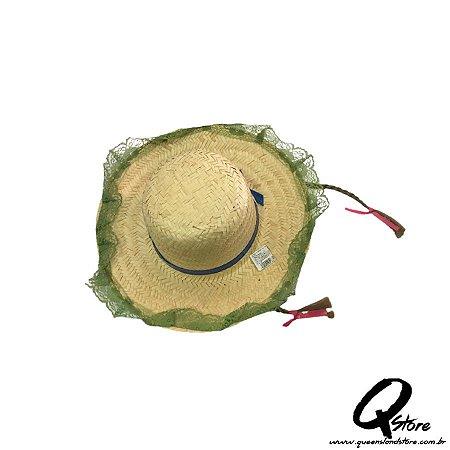 Chapéu de Palha Renda e c/ Trança Festa Junina Feminino- Verde