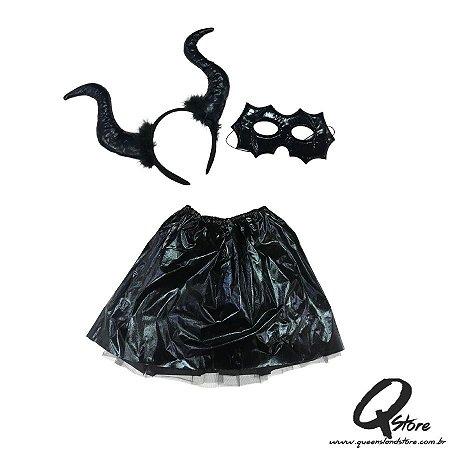 Kit Halloween Malévola Preto - Tamanho Único