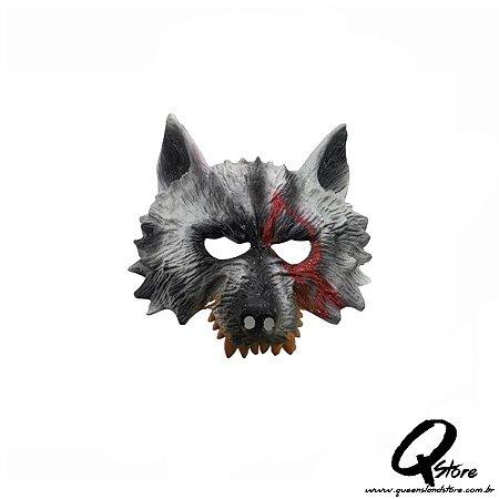 Máscara Lobo Meio Rosto - Plástico