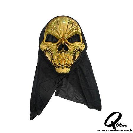 Máscara Caveira Dourada c/ Capuz Halloween- Plástico
