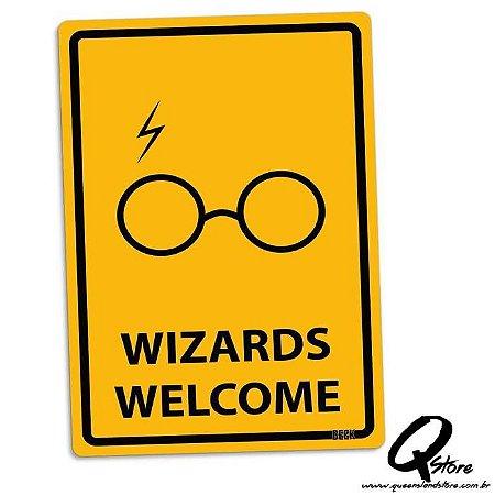Placa Decorativa 24x16 Wizards Welcome