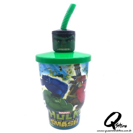 Copo do Hulk c/ Tampa e Canudo- 500ml