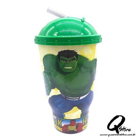Copo do Hulk c/ Tampa e Canudo- 500ml
