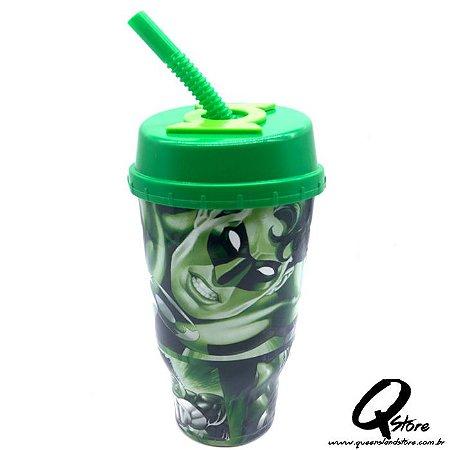 Copo do Lanterna Verde  c/ Tampa e Canudo- 500ml