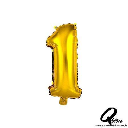 Balão Metalizado Dourado  Nº1 - 41cm